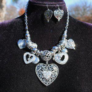 Jewelry - Boho Silver Heart Statement Necklace & Earring Set